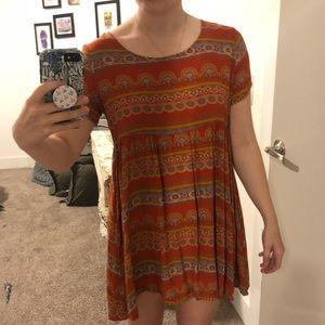 Top Shop burnt orange patterned dress